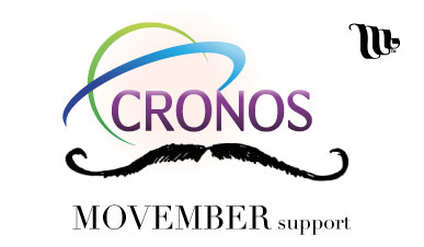 Cronos logo with a moustache