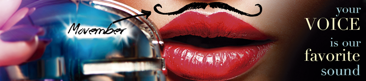 Women face with a fake moustache and Cronos' slogan
